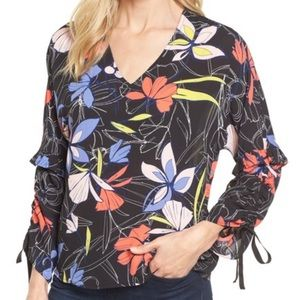 Halogen abstract garden floral tie sleeve blouse A